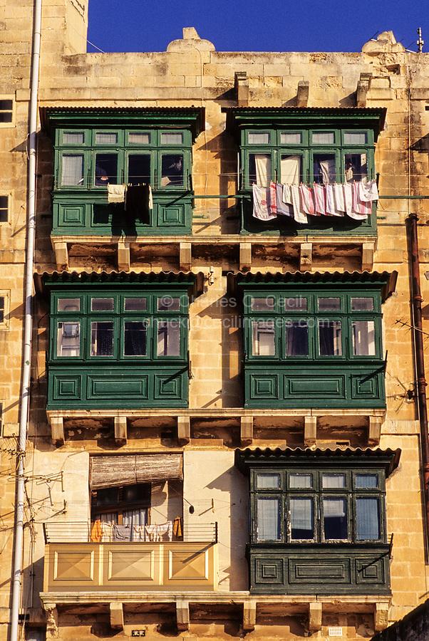Valletta, Malta.  Enclosed Window Balconies, Galleries, Galuria, Gallerjia.