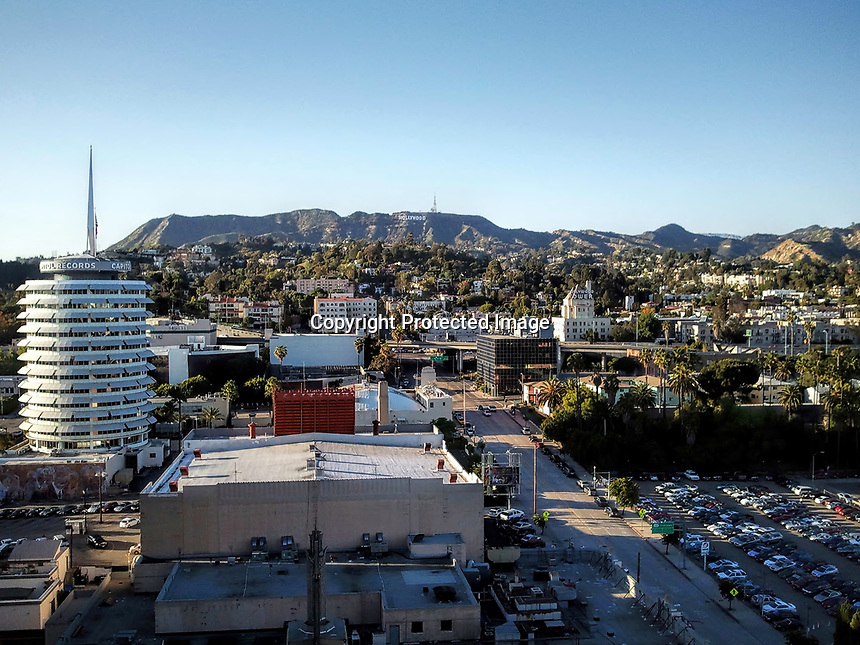 Hollywood viewed from high on a hotel rooftop.