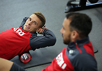 Tom Carroll and Leon Britton exercise in the gym during the Swansea City Training at The Fairwood Training Ground, Swansea, Wales, UK. Wednesday 27 September 2017