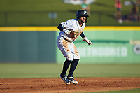 Jack Lopez (1) of the Gwinnett Stripers takes his lead off of second base against the Scranton/Wilkes-Barre RailRiders at Coolray Field on August 17, 2019 in Lawrenceville, Georgia. The Stripers defeated the RailRiders 8-7 in eleven innings. (Brian Westerholt/Four Seam Images)