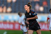 BRIDGEVIEW, IL - JULY 18: Arin Wright #3 of the Chicago Red Stars smiles during a game between OL Reign and Chicago Red Stars at SeatGeek Stadium on July 18, 2021 in Bridgeview, Illinois.
