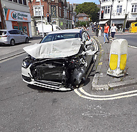 BNPS.co.uk (01202) 558833. <br /> Pic: BNPS<br /> <br /> Pictured: This Audi car was involved in the collision. <br /> <br /> Two paramedics had a lucky escape when their ambulance overturned after colliding with a car.<br /> <br /> The Southern Western Ambulance Service emergency vehicle flipped onto its side in the dramatic crash with an Audi A3 car in Poole, Dorset.<br /> <br /> The ambulance driver managed to climb out of the wreckage through the rear doors while their colleague had to helped out through the door on the passenger side.