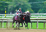 August 28, 2021: Firenze Fire #8, ridden by jockey Jose Ortiz tries to bite his rival Yaupon #7 ridden by jockey Ricardo Santana Jr. during the Grade 1 Forego Stakes at Saratoga Race Course in Saratoga Springs, N.Y. on August 28th, 2021. Scott Serio/Eclipse Sportswire/CSM
