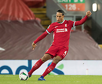 1st October 2020; Anfield, Liverpool, Merseyside, England; English Football League Cup, Carabao Cup, Liverpool versus Arsenal; Virgil van Dijk of Liverpool plays a long pass upfield