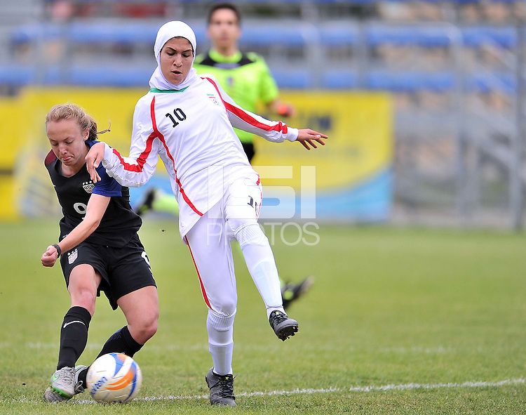 Monfalcone, Italy, April 26, 2016.<br /> USA's #9 Vatne scores the first goal during USA v Iran football match at Gradisca Tournament of Nations (women's tournament). Monfalcone's stadium.<br /> © ph Simone Ferraro / Isiphotos