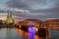 Cologne Cathedral and Hohenzollern Bridge, Cologne, Germany, Europe