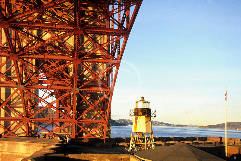 California, San Francisco, Golden Gate Bridge undergirders from Fort Point