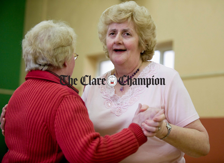 Mary Canny dancing with Bridie Cooney at the Feakle Parish Afternoon Tea Social in the local Hall. Photograph by John Kelly.