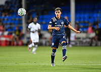 LAKE BUENA VISTA, FL - AUGUST 01: Jesús Medina #19 of New York City FC plays the ball out of the air during a game between Portland Timbers and New York City FC at ESPN Wide World of Sports on August 01, 2020 in Lake Buena Vista, Florida.