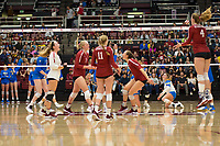 STANFORD, CA - NOVEMBER 17: Stanford, CA - November 17, 2019: Kathryn Plummer, Morgan Hentz, Kate Formico, Jenna Gray, Meghan McClure at Maples Pavilion. #4 Stanford Cardinal defeated UCLA in straight sets in a match honoring neurodiversity. during a game between UCLA and Stanford Volleyball W at Maples Pavilion on November 17, 2019 in Stanford, California.