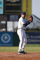 Bryan Radziewski (13) of the Lancaster JetHawks pitches during a game against the Lake Elsinore Storm at The Hanger on May 9, 2015 in Lancaster, California. Lancaster defeated Lake Elsinore, 3-1. (Larry Goren/Four Seam Images)