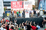 "Expression of the Spanish trade unions against cuts and closures of public services.Spanish trade union leaders of sections of public services sang ""The International"" after demonstration..(Alterphotos/Ricky)"