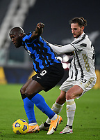 Football Soccer: Tim Cup Semi Finals second leg Juventus vs InternazionaleMilan, Allianz Staium Stadium in Turin, on February 9, 2021.<br /> Inter's Romelu Lukaku (l) in action with Juventus' Adrien Rabiot (r) during the Italian Tim Cup Semi Final match between Juventus vs InterMilan at Allianz Stadium in Turin, on February 9, 2021.<br /> UPDATE IMAGES PRESS/Isabella Bonotto