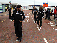 Wednesday 28 August 2013<br /> Pictured L-R: Alejandro Pozuelo, Michu and Jose Canas arriving  at Cardiff Airport.<br /> Re: Swansea City FC players and staff en route for their UEFA Europa League, play off round, 2nd leg, against Petrolul Ploiesti in Romania.