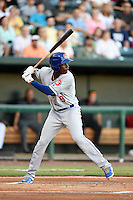 Chattanooga Lookouts second baseman Darnell Sweeney (9) at bat during game three of the Southern League Championship Series against the Jacksonville Suns on September 12, 2014 at Bragan Field in Jacksonville, Florida.  Jacksonville defeated Chattanooga 6-1 to sweep three games to none.  (Mike Janes/Four Seam Images)