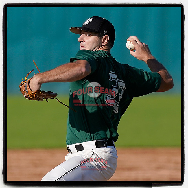 Jordan Marks (33) of the University of South Carolina Upstate Spartans Green team delivers a pitch in the Green and Black Fall World Series Game 3 on Sunday, November 1, 2020, at Cleveland S. Harley Park in Spartanburg, South Carolina. Green won, 3-2. (Tom Priddy/Four Seam Images)