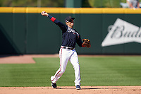 Atlanta Braves third baseman Ryan Goins (8) throws to first base during a Major League Spring Training game against the Boston Red Sox on March 7, 2021 at CoolToday Park in North Port, Florida.  (Mike Janes/Four Seam Images)