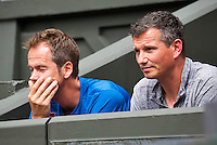 London, England, 01 July, 2016, Tennis, Wimbledon, Coaches of Stanislas Wawrinka (SUI) Left Magnus Norman and right former Wimbledon Champion Richard Krajicek<br /> Photo: Henk Koster/tennisimages.com