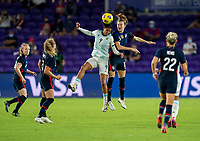 ORLANDO, FL - FEBRUARY 24: Soledad Jaimes #9 of Argentina heads the ball with Tierna Davidson #12 of the USWNT during a game between Argentina and USWNT at Exploria Stadium on February 24, 2021 in Orlando, Florida.
