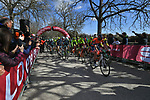 The start of Strade Bianche 2019 running 184km from Siena to Siena, held over the white gravel roads of Tuscany, Italy. 9th March 2019.<br /> Picture: LaPresse/Gian Matteo D'Alberto   Cyclefile<br /> <br /> <br /> All photos usage must carry mandatory copyright credit (© Cyclefile   LaPresse/Gian Matteo D'Alberto)