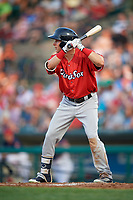 Pawtucket Red Sox center fielder Kyle Wren (24) at bat during a game against the Rochester Red Wings on July 4, 2018 at Frontier Field in Rochester, New York.  Pawtucket defeated Rochester 6-5.  (Mike Janes/Four Seam Images)