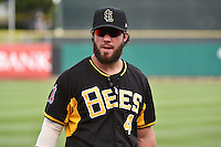 Ian Stewart (4) of the Salt Lake Bees before the game against the Reno Aces in Pacific Coast League action at Smith's Ballpark on July 23, 2014 in Salt Lake City, Utah.  (Stephen Smith/Four Seam Images)