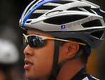 A Cyclist eyes the start line at the annual Tour de Houston bike ride downtown Sunday  March 16, 2014.(Dave Rossman photo)