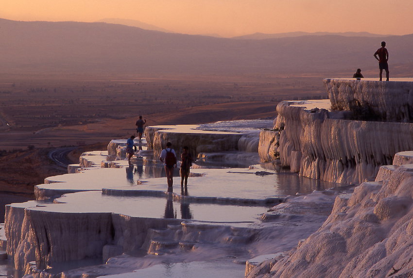 Asia, TUR, Turkey, Aegean, Pamukalle, Hot springs, Limestone terrace, Typical View