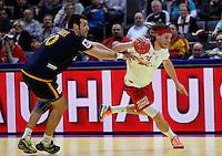 Mikkel Hansen (R) of Denmark in action during men`s EHF EURO 2012 championship semifinal handball game between Denmark and Spain in Belgrade, Serbia, Friday, January 27, 2011.  (photo: Pedja Milosavljevic / thepedja@gmail.com / +381641260959)