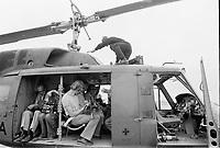 Des helicopteres de l'armee canadiene offrent un survol des installations olympiques aux cameramen et photographes de medias, le 6 juin 1976<br /> <br /> PHOTO : Agence Quebec Presse