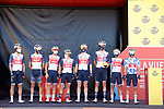 Trek-Segafredo at sign on before Stage 4 of La Vuelta d'Espana 2021, running 163.9km from Burgo de Osma to Molina de Aragon, Spain. 17th August 2021.    <br /> Picture: Luis Angel Gomez/Photogomezsport | Cyclefile<br /> <br /> All photos usage must carry mandatory copyright credit (© Cyclefile | Luis Angel Gomez/Photogomezsport)