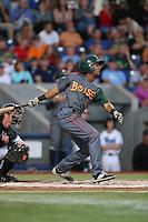 Marcos Derkes (1) of the Boise Hawks bats during a game against the Hillsboro Hops at Ron Tonkin Field on August 21, 2015 in Hillsboro, Oregon. Boise defeated Hillsboro, 7-1. (Larry Goren/Four Seam Images)
