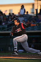 Carlos Belen (35) of the Lake Elsinore Storm bats against the Lancaster JetHawks at The Hanger on June 12, 2017 in Lancaster, California. Lancaster defeated Lake Elsinore, 13-6. (Larry Goren/Four Seam Images)