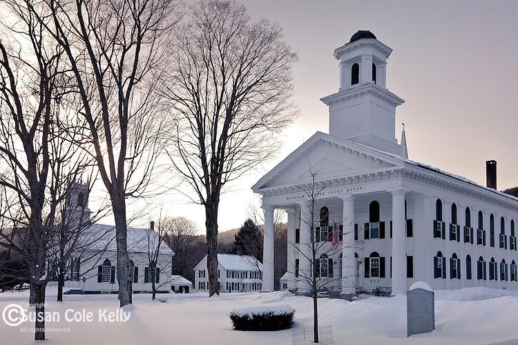 Fresh snow in the center of Newfane, VT, USA