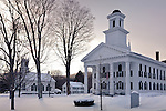 Fresh snow in the center of Newfane, VT, USA