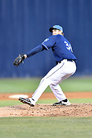 Asheville Tourists pitcher Jake Bird (33) delivers a pitch during a game against the Augusta GreenJackets at McCormick Field on April 6, 2019 in Asheville, North Carolina. The Tourists defeated the GreenJackets 6-3. (Tony Farlow/Four Seam Images)