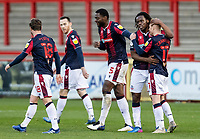 Bolton Wanderers' Ali Crawford (right) celebrates scoring his side's second goal <br /> <br /> Photographer Andrew Kearns/CameraSport<br /> <br /> The EFL Sky Bet League Two - Stevenage v Bolton Wanderers - Saturday 21st November 2020 - Lamex Stadium - Stevenage<br /> <br /> World Copyright © 2020 CameraSport. All rights reserved. 43 Linden Ave. Countesthorpe. Leicester. England. LE8 5PG - Tel: +44 (0) 116 277 4147 - admin@camerasport.com - www.camerasport.com