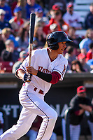 Wisconsin Timber Rattlers outfielder Ryan Aguilar (21) follows through with his swing during a Midwest League game against the Quad Cities River Bandits on April 8, 2017 at Fox Cities Stadium in Appleton, Wisconsin.  Wisconsin defeated Quad Cities 3-2. (Brad Krause/Four Seam Images)
