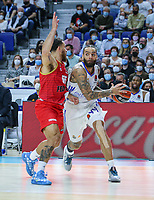 13th October 2021; Wizink Center; Madrid, Spain; Turkish Airlines Euroleague Basketball; game 3; Real Madrid versus AS Monaco; Jeffery Taylor (AS Monaco) brings the ball forward against Mike James (AS Monaco)