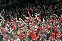 CALI - COLOMBIA, 29-02-2020: Hinchas del América animan a su equipo durante partido por la fecha 7 de la Liga BetPlay DIMAYOR I 2020 entre América de Cali y Deportivo Cali jugado en el estadio Pascual Guerrero de la ciudad de Cali. / Fans of America cheer for their team during match for the for the date 7 as part of BetPlay DIMAYOR League I 2020 between America de Cali and Deportivo Cali played at Pascual Guerrero stadium in Cali. Photo: VizzorImage / Gabriel Aponte / Staff