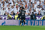 PSG Yuri Bereiche, Adrien Rabiot and Neymar Jr celebrating a goal during Eight Finals Champions League match between Real Madrid and PSG at Santiago Bernabeu Stadium in Madrid , Spain. February 14, 2018. (ALTERPHOTOS/Borja B.Hojas)