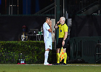 LAKE BUENA VISTA, FL - JULY 18: Cristian Pavón #10 of LA Galaxy pleads with the assistant referee after his goal was negated for being offside during a game between Los Angeles Galaxy and Los Angeles FC at ESPN Wide World of Sports on July 18, 2020 in Lake Buena Vista, Florida.