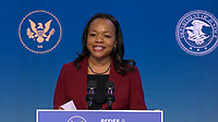 """United States Associate Attorney General for the Civil Rights Division-designate Kristen Clarke makes remarks after US President-elect Joe Biden delivered remarks as he names """"Key Nominees for the Department of Justice"""" from the Queen Theatre in Wilmington, Delaware on Thursday, January 7, 2021.  <br /> CAP/MPI/RS<br /> ©RS/MPI/Capital Pictures"""