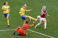 Danique Kerkdijk of Brighton clears from Alisha Lehmann of West Ham during West Ham United Women vs Brighton & Hove Albion Women, Barclays FA Women's Super League Football at the Chigwell Construction Stadium on 15th November 2020