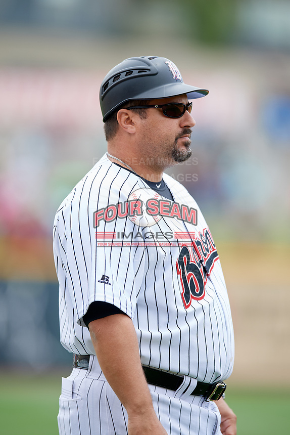 Birmingham Barons manager Julio Vinas (54) during a game against the Jacksonville Jumbo Shrimp on April 24, 2017 at Regions Field in Birmingham, Alabama.  Jacksonville defeated Birmingham 4-1.  (Mike Janes/Four Seam Images)