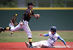 Galena's Andrew West turns the double play on Centennial's Austin Kryszcuk during NIAA DI baseball action at Bishop Manogue High School in Reno, Nev., on Thursday, May 19, 2016. Cathleen Allison/Las Vegas Review-Journal