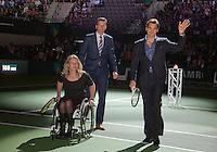 11-02-13, Tennis, Rotterdam, ABNAMROWTT,  Roger Federer, Tournament director Richard Krajicek and Esther Vergeer at the official opening of the tournament