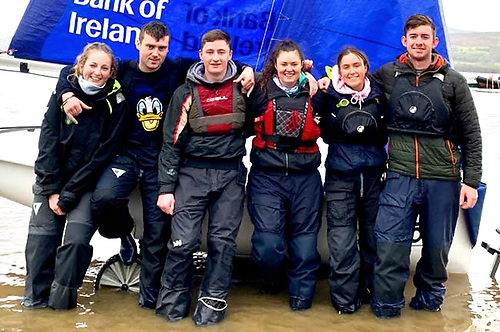 The UCD Team at UCLSC's Killaloe base on Lough Derg after winning the 2020 Irish title captained by Daniel Raymond.
