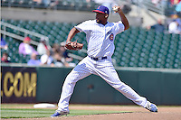 Jeff Antigua (34) of the Iowa Cubs throws a pitch against the New Orleans Zephyrs at Principal Park on April 23, 2015 in Des Moines, Iowa.  The Zephyrs won 9-2.  (Dennis Hubbard/Four Seam Images)