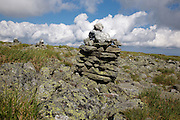 Rock cairn along Tuckerman Crossover Trail in the White Mountains, New Hampshire USA during the summer months.
